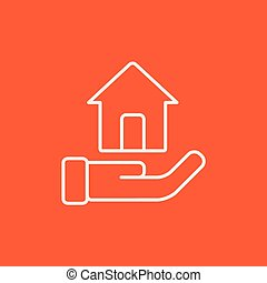 House insurance line icon. - House insurance line icon for...