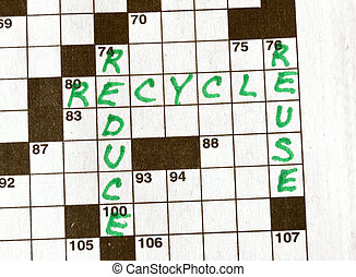 The Words Reduce, Reuse, Recycle on Crossword Puzzle in...