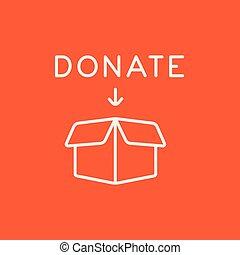 Donation box line icon - Open donation box line icon for...