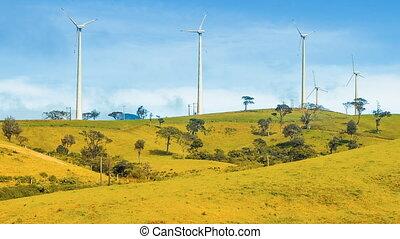 Wind turbines on green hill - Wind turbines on the green...