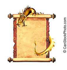 Dragon and scroll of old parchment