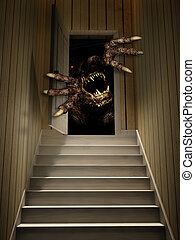 Monster in open door