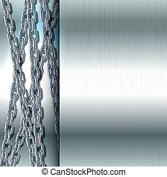 Chain stainless steel on metal background.