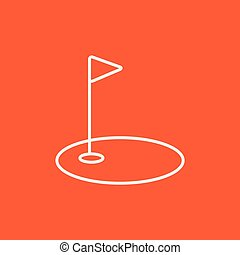 Golf hole with flag line icon - Golf hole with a flag line...