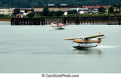 Floatplanes near Ketchikan, Alaska, Copy Space