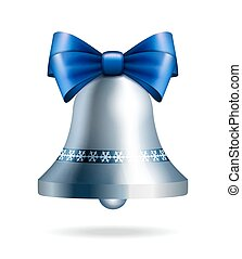 Silver jingle bell with blue bow isolated on white. Vector...