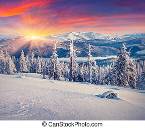 Colorful winter sunrise in the mountains Instagram toning