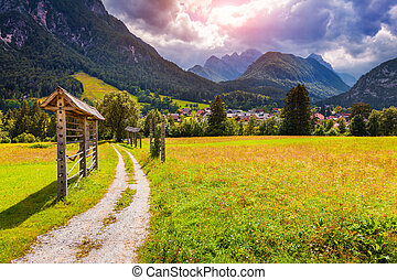 Summer sunny scene of Triglav mountain range, view from the...