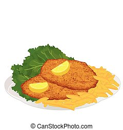 Schnitzel with frech fries, lettuce and lemon slices on...
