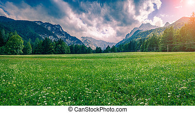 Panorama of Triglav mountain range. Cloudy summer day in the...