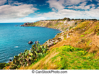 Colorful spring scene in the harbor and cape Milazzo with...