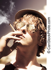 Dude Smoking Cigarette - Handsome young man wearing...