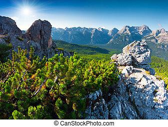 Suny summer scene of the Cristallo group range in National...