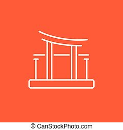 Torii gate line icon - Torii gate line icon for web, mobile...