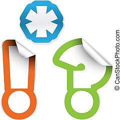 asterisk, exclamation mark and question mark - Set of labels...