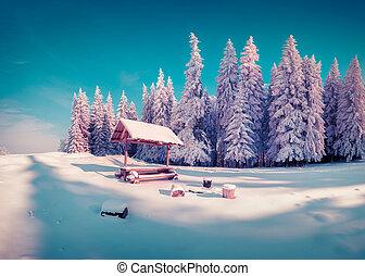 Descansar, lugar, con, nicho, en, el, nevoso,...