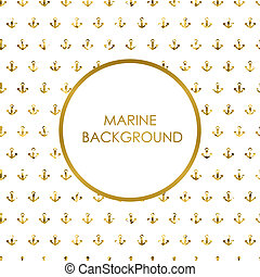 Vector seamless pattern with golden anchors - Vector marine...