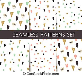 Hearts seamless patterns set.