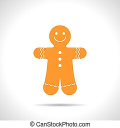 Vector christmas icon. New year illustration. Gingerbread...