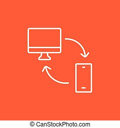 Synchronization computer with mobile device line icon -...