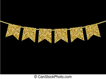 hecho, oro, textura, bandera, guirnaldas, resplandor