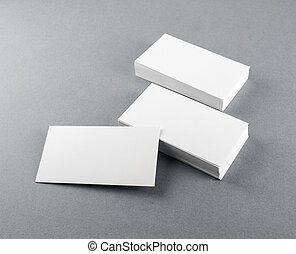 Blank business cards on gray - Photo of blank business cards...