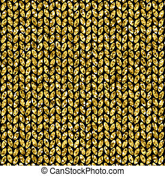Gold glitter background. Wool knitted texture. Can be used...