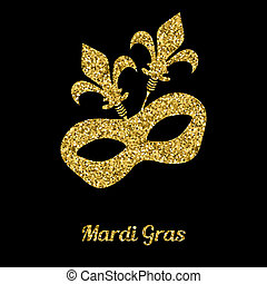 Mardi Gras mask from gold glitter. Venetian carnival mask....