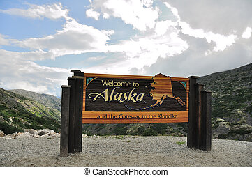 Welcome to Alaska Sign on Klondike Highway near Skagway