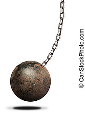 Ball and chain isolated on white background