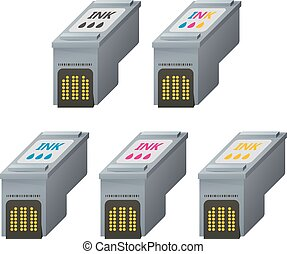 CMYK ink cartridges in isometric. - Color CMYK ink...