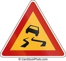 South Korean road warning sign - Slip danger