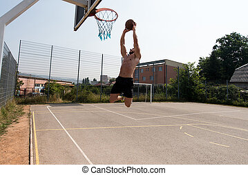 Basketball Player Is About To Slam Dunk - Basketball Player...