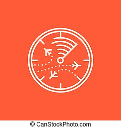 Radar screen with planes line icon - Radar screen with...