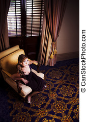 Rich Wealthy Woman Sitting In Upmarket Hotel - Rich And...