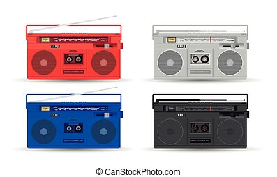 MC player - Magnetic cassette player. Vector