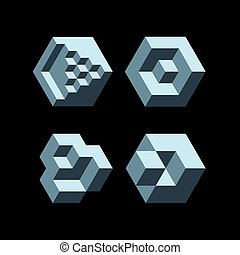 Cubic objects - Set of cubic objects. Vector
