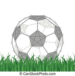 Soccer ball created from dots and lines, vector