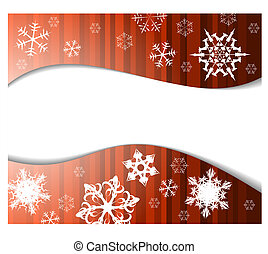 Christmas background in red color with white snowflakes