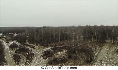 Russian forest during fall and a small settlement. View from...