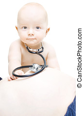 Young baby paediatrician - Young baby with a stethoscope...