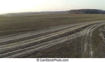 Aerial view of field roads, byroad russia, autumn - Aerial...