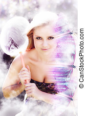 Beautiful Woman In Flight Of Fantasy A high key surreal...