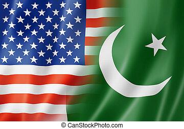 USA and Pakistan flag - Mixed USA and Pakistan flag, three...