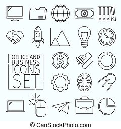 d Icons office - Set of business icons arranged in a line...