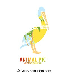 Pelican and palm trees - Double exposure illustration of...