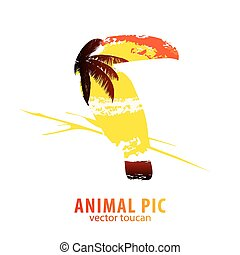 toucan and palm trees - Double exposure illustration of...