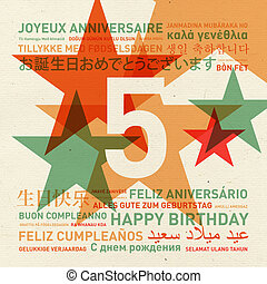 5th anniversary happy birthday card from the world