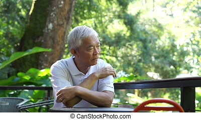 Asian senior guy thinking in nature - Asian senior guy...