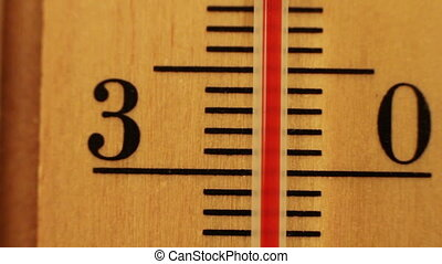 The temperature on the thermometer moves. - Red mercury in a...